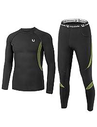 Yesurprise Men's Thermal Underwear Sets Base Layer Set Fleece Sweat Quick Drying