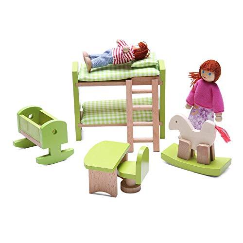 WDXIN Juguete de casa Juegos niños Educativo Mini Muebles Muñeca de Madera Mesa y Silla Cama Mueble Juguete Muebles de...
