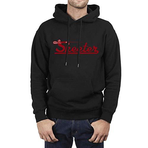Skeeter Logo Mens Black Hooded Sweatshirt Powerblend Kangaroo Pocket Wool Warm Pullover Guys (Skeeter Sweatshirt)