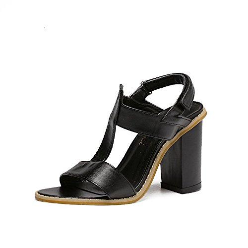 LvYuan-mxx Sandalias de las mujeres / Primavera Verano / Magic pegatinas / T-Strap / talón grueso / abierto dedo del pie / Comfort Casual / Oficina y carrera de vestir / Tacones altos , black BLACK-36