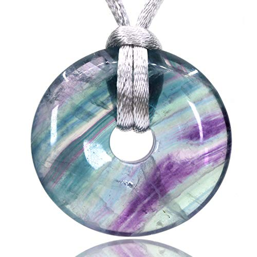 AMANDASTONES Natural Gemstones AA Grade Rainbow Fluorite Peace Donut 30M Beads Adjustable Braided Macrame Tassels Pendant Unisex