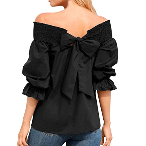 lotus.flower 2018 Women Off Shoulder Bardot T-shirts Top Puff Sleeve Bow Bandage Blouse (XL, Black)