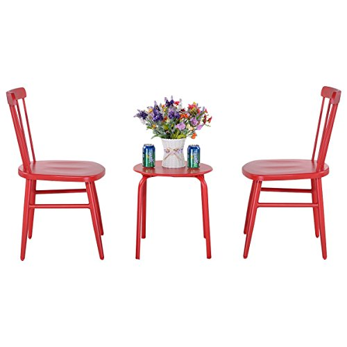 3Pcs Outdoor Bistro Round Table Chair Furniture Set Garden Lawn Coffee Table Red by Apontus