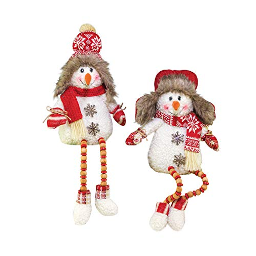 Hanna's Handiworks Snowman Button Leg Winter Red 18 x 6 Fabric Christmas Figurines Set of 2
