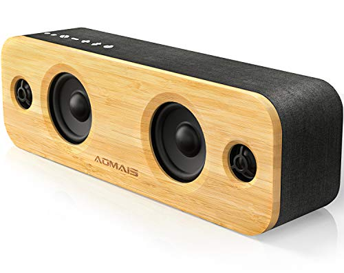 AOMAIS Life Bluetooth Speakers, 30W Loud Wood Home/Outdoor Wireless Speaker,2 Woofer&2 Tweeters for Super Bass Stereo Sound,66 Ft Bluetooth V4.2 and 12H Playtime, 3 EQ Modes [Classic, Surround, Party] (Bluetooth Speaker Shelf)