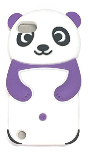 Bukit Cell Purple Panda 3d Silicone Cute Lovely Fun Case for Ipod Touch 6th/ 5th Generation + Screen Protector +Bukit cell Metallic Stylus PEN