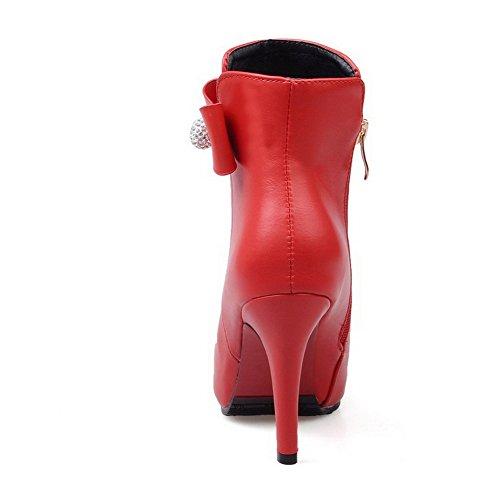 AllhqFashion Mujeres Tacón de aguja Caña Baja Cremallera Sólido Botas con Lazos Rojo