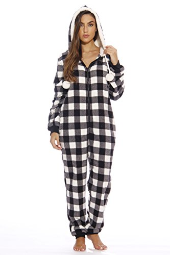 Just Love Adult Onesie/Pajamas,XX-Large,White Buffalo Plaid -