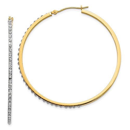 - 14k Yellow Gold Diamond Fascination Large Round Hinged Hoop Earrings Ear Hoops Set Fine Jewelry Gifts For Women For Her