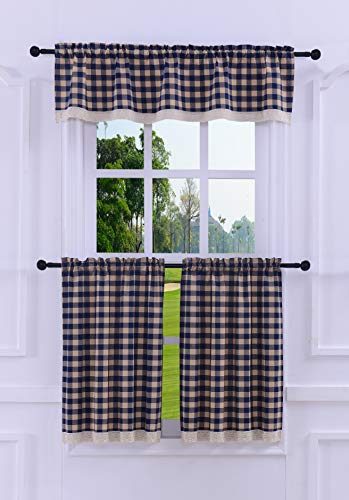 3 Pieces Kitchen Curtain Tier and Valance Set Checkered Cotton Blend Navy (Tiers Plaid Valance)
