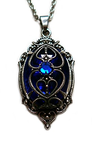 Dark Elf Cosplay Costume (Silver Filigree Caged Rhinestone Pendant: Dark Sapphire Blue)