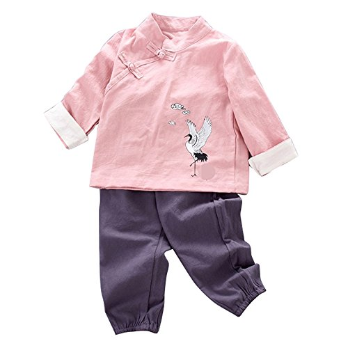JIANLANPTT Kids Cute Chinese Style Kung Fu Outfits Tang Suit For Boys Girls