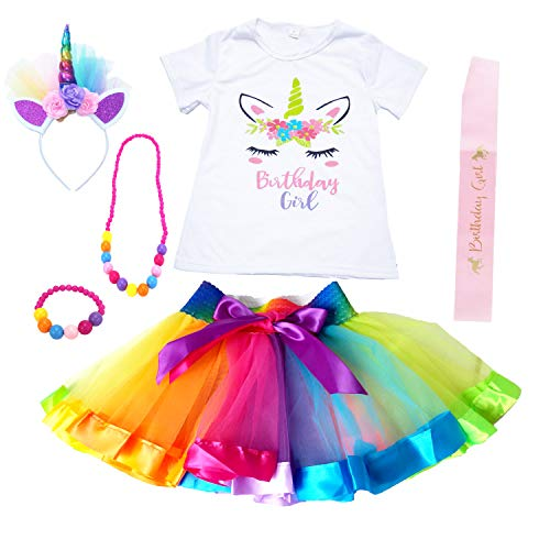Unicorn Birthday Outfits for Girls Dress Party Gift Tutu Clothing Set 2 34 5 6 7 8 yr (Rainbow, M) -