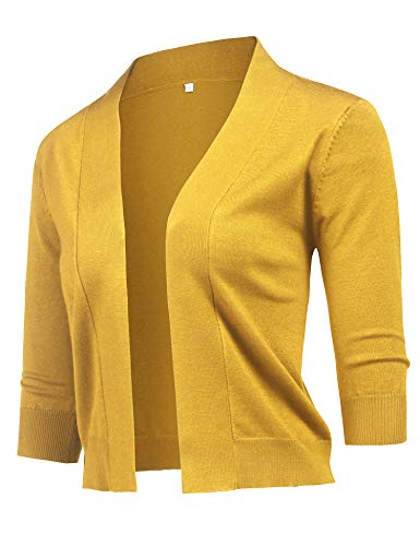 URRU Women's Vintage Cropped Shrug Open Front 4/3 Long Sleeve Bolero Cardigan Sweaters Yellow XL