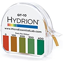 Micro Essential Lab QT-10 Plastic Hydrion Low Range Quat Check Test Paper Dispenser, Single Roll, Food Service Test Strips, 0 - 400ppm