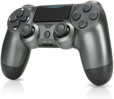PS4 Wireless Controller,Wireless Controller with Dual Vibration Game Joystick (Steel Gray)