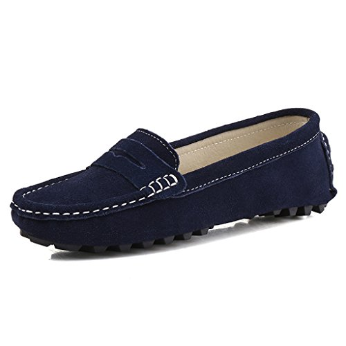 SUNROLAN 808-2lan8.5 Rebacca Women's Suede Leather Driving Moccasins Slip-On Penny Loafers Boat Shoes Flats Blue 8.5 B(M) ()