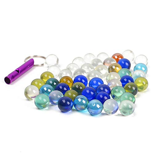 POPLAY 50 PCS Beautiful Player Marbles Bulk for Marble GamesMultiple Colors1 Whistle for Free