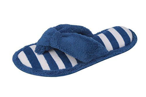 Beverly Rock Womens Embroidered, Plush Terry Cotton Spa, Cobalt Blue, Size 7.5 ()
