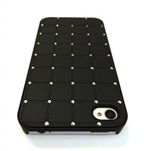 Prime Meilleur Iphone 4 / 4S CRISTAL DE LUXE Croix Black Diamond Case Hard Cover Bling avec cadre noir pour Apple iPhone 4 / 4S