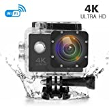 Photo : 4K Action Camera, 16MP WIFI Ultra HD Underwater Waterproof 30M Sports Camcorder with 170° Degree Wide Angle Lens, 2 Rechargeable Batteries and Mounting Accessories Kits