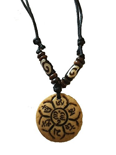 Tibetan Adjustable Handmade Necklace Amulet Embossed with Tibetan Mantras and Symbol Wood Color