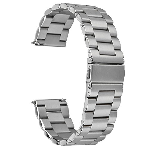 - eLander Solid Stainless Steel Metal Watch Strap with Folding Clasp for Fitbit Blaze Tracker (Silver)