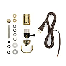 Lamp-making Kit - Electrical Wiring Kit to Make or Refurbish Lamps (Electrical Lamp Wiring Kit with Brass-plated socket and 12' Brown wire cord)