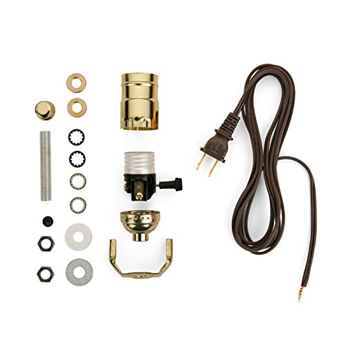 Lamp-making Kit - Electrical Wiring Kit to Make or Refurbish Lamps (Electrical Lamp Wiring Kit with Brass-plated socket and 12 feet Brown wire cord)