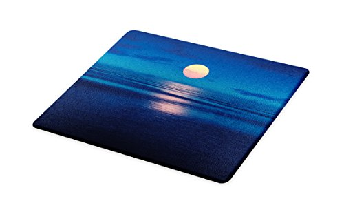 Lunarable Ocean Cutting Board, Nature Theme Landscape of Beautiful Sunset over the Ocean Digital Print, Decorative Tempered Glass Cutting and Serving Board, Large Size, Dark Blue and - Over Glass Sunset