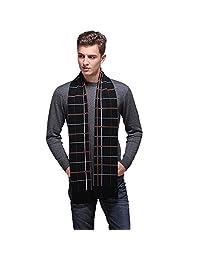 Fashion Land Mens Australian Wool Stripes Soft  Cozy Warm Long Scarves Black