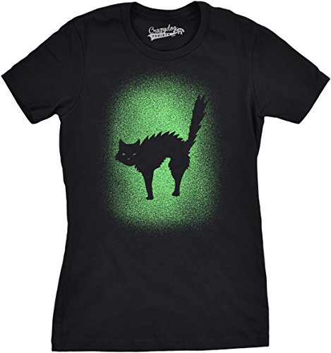 Womens Glowing Cat Glow in The Dark Cool Halloween T Shirt Funny Kitty Tee (Black) -