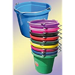 Fortiflex Flat Back Feed Bucket for Dogs/Cats and Small Animals, 20-Quart, Black