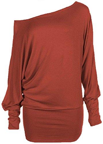 Hot Femme batwing longues manches Hanger grande tunique haut taille Rouille 66rSfvwnq