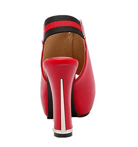 Sandalias Colores Surtidos Vestir Agoolar Gmxlb009717 Rojo De Pu Mujeres Tacón Alto 7H7qg6