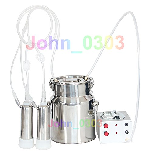 5L 1.3Gal Electric Cattle Cow Miking Machine Milker With Pump -Stainless Steel bucket Easy To Use Food Grade