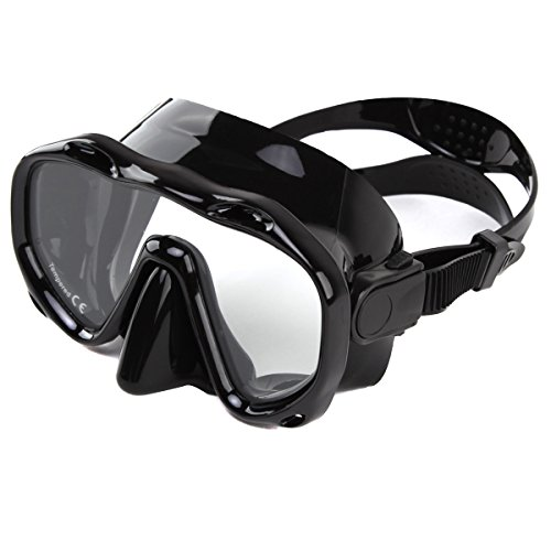 Whale An-ti Fog Dive Mask Scuba Diving Goggles,Waterproof and Quick Adjustable Snorkeling Masks for Men & Women-Black (Black Mask Diving)