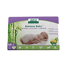 Aleva Naturals Bamboo Baby Diapers, Size Newborn-1, 32 Count