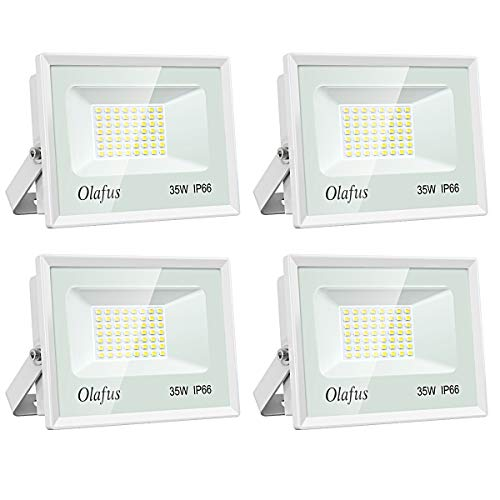 Olafus 4 Pack 35W LED Flood Light, 3800LM Outdoor Landscape Floodlights IP66 Waterproof Wall Lights, 5000K Daylight White Ultra Bright for Front Door, Garden, Patio, Yard, Driveway, Stadium
