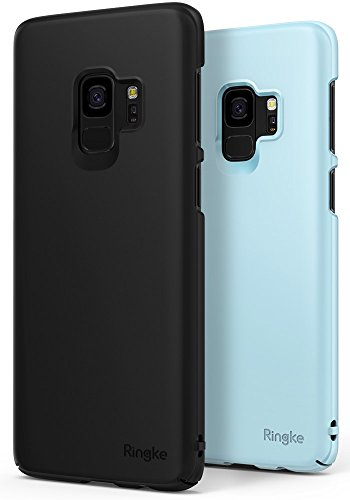 Ringke [Slim] Case Compatible with Galaxy S9 Case [2 Pack] Dazzling Slender [Laser Precision Cutouts] Fashionable Superior Steadfast PC Hard Cover for GalaxyS9 - Black & Sky Blue