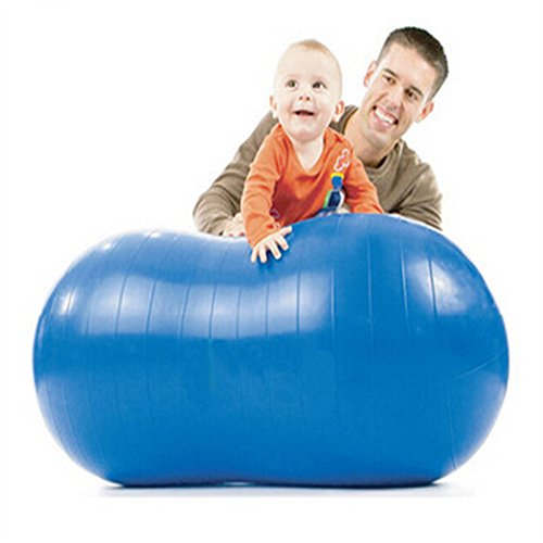 Zebratown Blue Peanut Ball Yoga Fitness Balance Ball Exercise Balls with a Free Foot Pump, 18*35 inch