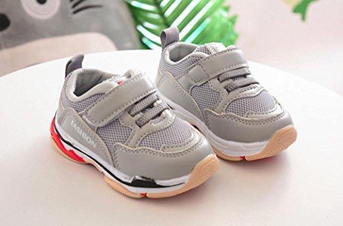 Hunpta Kleinkind Kinder Kinder Baby Sport Laufschuhe Brief Solide Mesh Schuhe Turnschuhe Grau