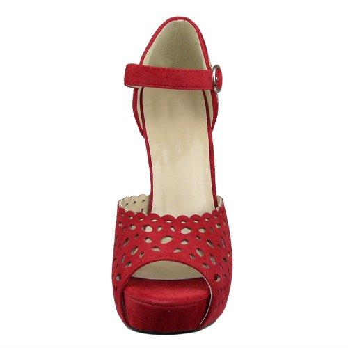 Sandales Plate-forme Pour Femme Cloutée Découpe Laser Peeptoe Stiletto Pumps Rouge