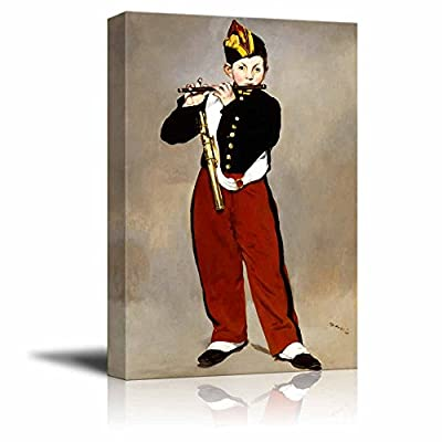 Young Flautist (or The Fifer) by ?douard Manet Famous Fine Art Reproduction World Famous Painting Replica on ped Print Wood Framed - Canvas Art Wall Art - 12
