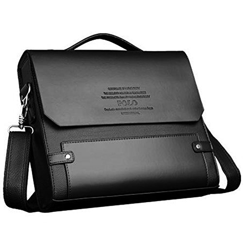 MESIDA Polo Mens Genuine Leather Briefcase Business Laptop Bag Shoulder Messenger Bag Fashion Mens Handbag Briefcases Luxury Leather Briefcases Waterproof Dark Brown