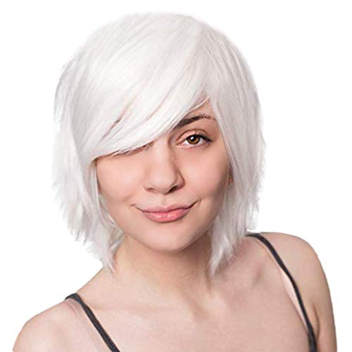 Aleola Fashion Short Wigs for Women Natural White Synthetic Wig for Halloween Cosplay Party Replacement Hair Wigs