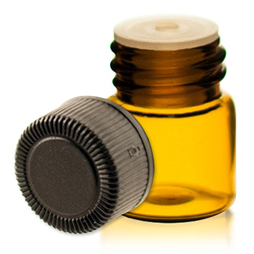 1/4 Dram AMBER Glass Vial - Screw Cap w/ Orifice Reducer - Pack of 72