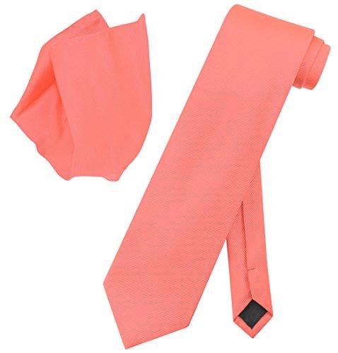 Woven Solid Color (Vesuvio Napoli Solid CORAL PINK Color Woven NeckTie Handkerchief Neck Tie Hanky)