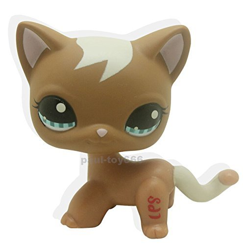 tongrou Rare Littlest Pet Shop Brown Short Hair Cat Swirl kitty Toy LPS #1170 (Littlest Pet Shop Brown Cat)