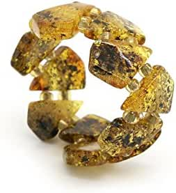 Genuine Natural Baltic Green Amber Adjustable Stretch Ring for Women